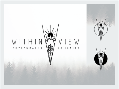 W I T H I N  V I E W  |  Logo Design pnw white black bw line sun mountain minimal modern clean logo