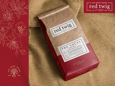 red twig | Coffee Bag & Re-Branding edmonds branding white flat illustration washington simple logo vintage modern clean design seattle brand pnw coffee bag bag coffee