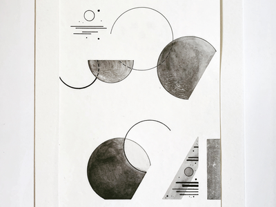 Phase(s) circles phases shapes charcoal watercolor penandink illustration