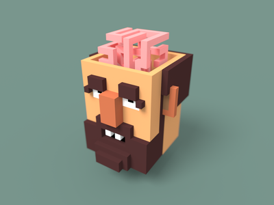 Thinking trow game character head voxel pixel