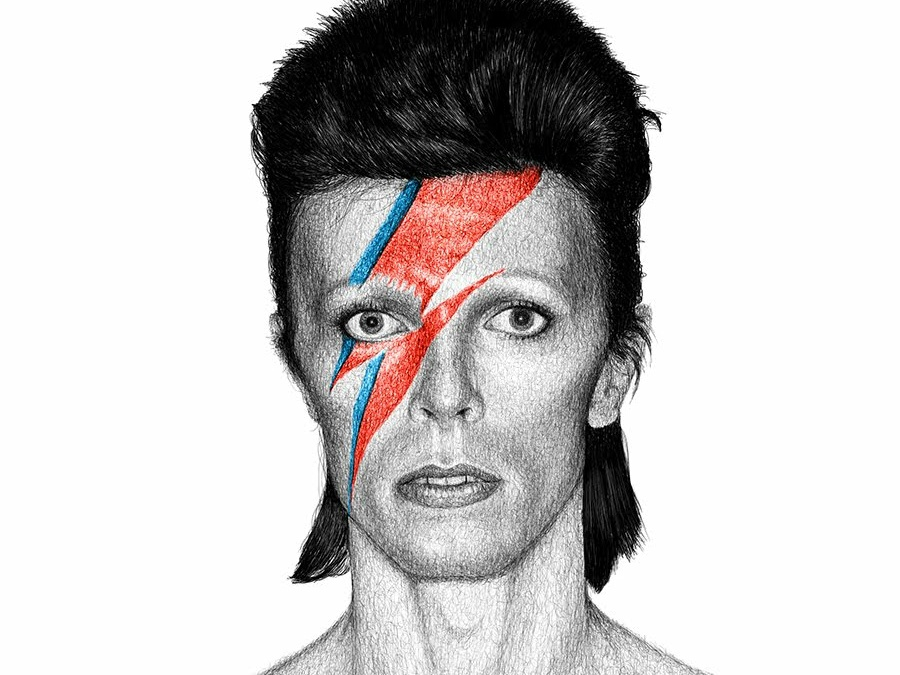 Bowie rock and roll the king musician david bowie lines drawing hand-drawn sketch realistic scribble portrait black and white illustration