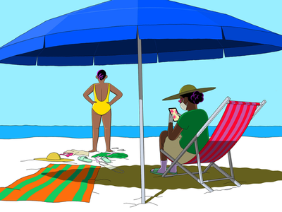 Don't Spend Your Summer Being Scared sand sea sun summer beach editorial onlineeditorial online mediumillustration medium covid-19 coronavirus fear drawing illustration laurierollitt