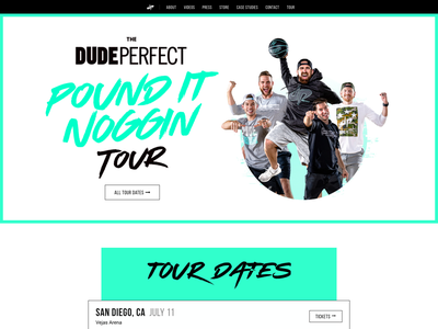 Dude Perfect Homepage Update ui tour banner dude perfect web design