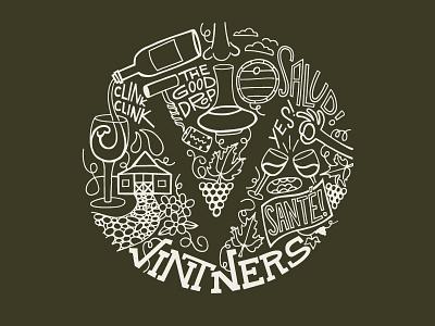 Vintners goodfuckingtimes typography illustration tee