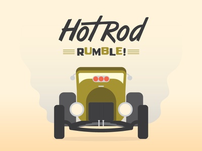 Hot Rod Rumble burnouts smoke dads vector lowbrow hotrod typography illustration