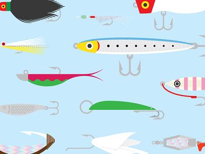Lures Poster Close kahawai lures fishing fish design vector poster illustration