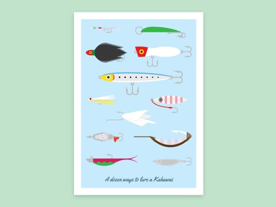 Lures Poster Full kahawai lures fish fishing vector poster design illustration