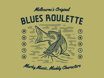 Muddys Dribbble blues catfish tee design typography fish poster design illustration