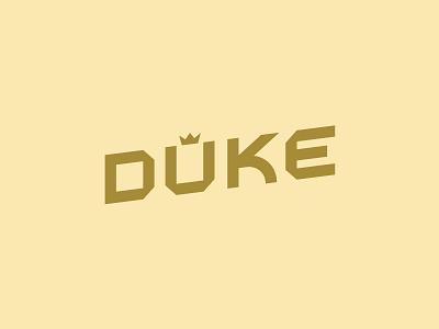 Duke mark geometric lettering design vector logo typography