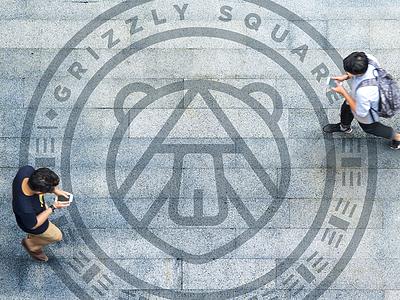 Grizzly Square Walkway Signage international identity packaging branding illustration logo design design logo