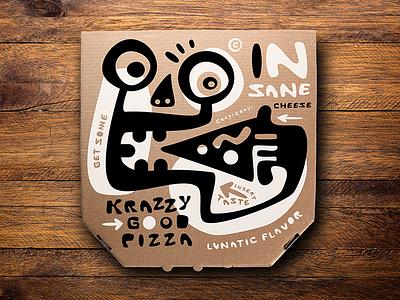 Krazzy Good Pizza Box logo design illustration packaging branding design logo