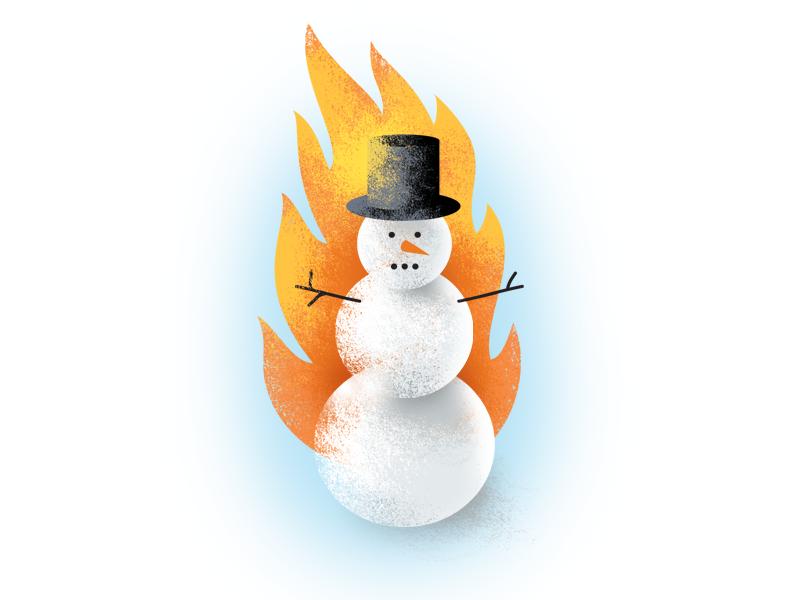 Odd Land Flaming Snowman Illustration snowman flame design textured illustration