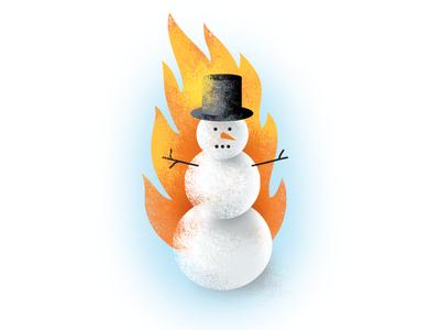 Odd Land Flaming Snowman Illustration
