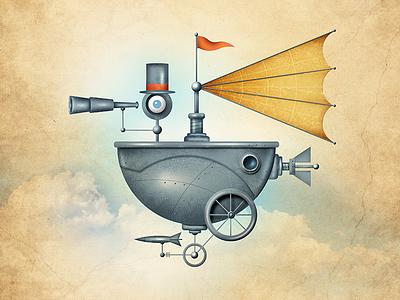 Punky Fly Boat fun land odd illustration steam punk