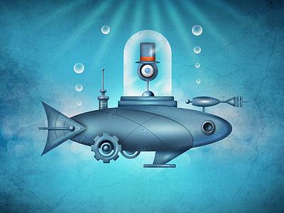 Punky Fly Fish punk steam odd land illustration fun