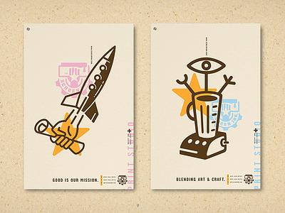 Screen Ink Posters, Good & Blend silkscreen quality printing logo ink design art