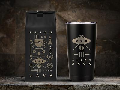 Alien Java Packaging illustration icon packaging logo design design logo