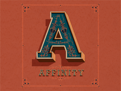 A - Affinity poster vintage traditional engraving big small tiny details bold capital drawing classic poster calligraphy design letter affinitydesigner