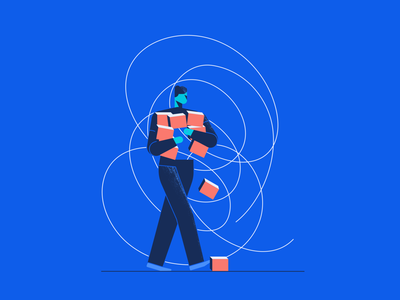 Feeling unappreciated and discouraged business minimalist vector crisis product walking man boxes abstract discouraged character
