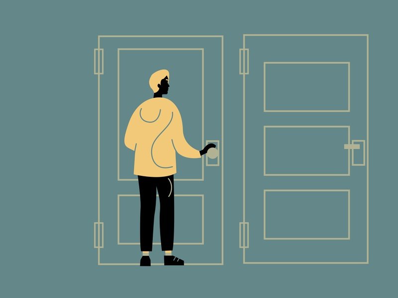 Trying to choose the right way man abstract outline choice interior doors concept vector 2d illustration character