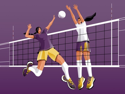Volleyball Game action motion design jump volleyball championship field net sport volley womens game women color design vector illustration character