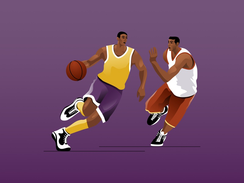 Dynamic basketball game drawing adult african american game players sports design sports logo ball basketball men abstract man vector character illustration