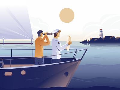 The Art of Consultancy branding modern character sun lighthouse sailor captain ship landscape ocean design illustration vector
