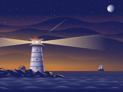 The Lighthouse light landscape ship skyțstarsțmoon night ocean lighthouse branding abstract vector illustration