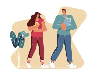 Meeting each other educational students design flat design flatdesign woman man cou-le trendy modern abstract character illustration