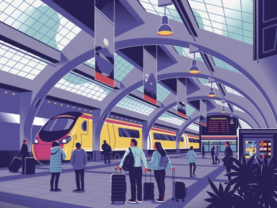 Departure travel illustrator editorial waiting people couple platform railway architecture design modern station departure train vector character illustration