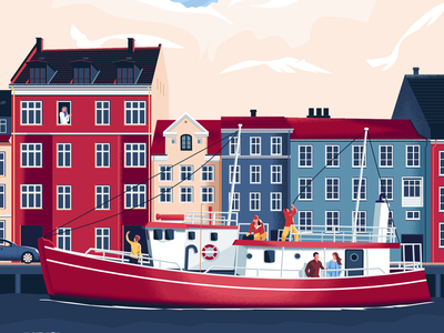 A Short Visit tourists travel people cruise ship ocean sea europe vector character illustration