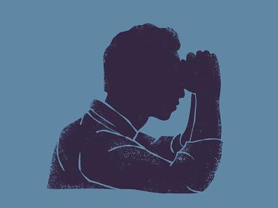 Ponder think thinker profile head hands ponder pray meditating portrait vintage color man abstract character illustration
