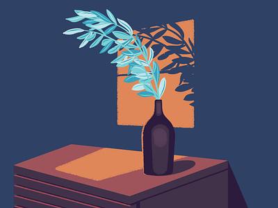 A Quiet Evening sun light illustrator shadow minimalist vase flowers empty house room interior living room color modern abstract illustration