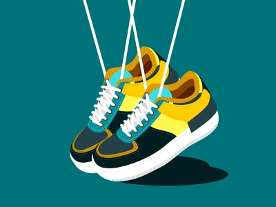 Getting Ready flat design object still life cool trendy shoes sport snealers landscape color branding vector character illustration