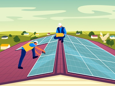 Solar Power - Google Ads peoole workers solar panels australia town houses roofțpanirama installation google ads solar energy solar power man vector illustration