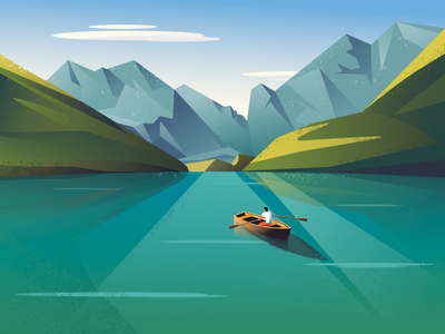 Through new places vector one person alone activity outdoor mountain paddle boat landscape man character illustration