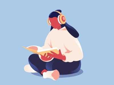 ACTIVE LEARNING education educational person student clean lines 2d app girl headphones reading learning modern abstract vector character illustration