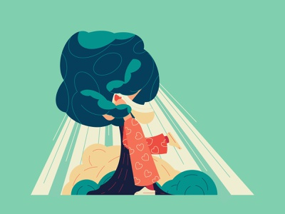 Cherish The Nature attitude positive app green tree hugging hug nature love climatechange abstract vector character illustration