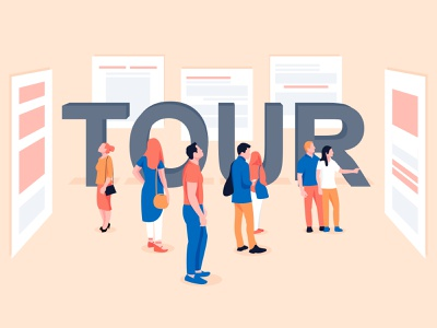 Effective Product Tours flat design website app characters product tours tour web page crowd people looking gallery branding modern design man abstract vector character illustration