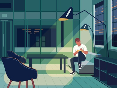 Alone In The Office ambient illustrator graphic employee indoors night city people cover illustration complex hero illustration main illustration graphic designer designer alone office man vector character illustration