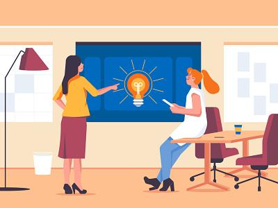 Products Aha Moment blog main illustration characters idea business aha moment light bulb office professional women ui branding modern vector character illustration