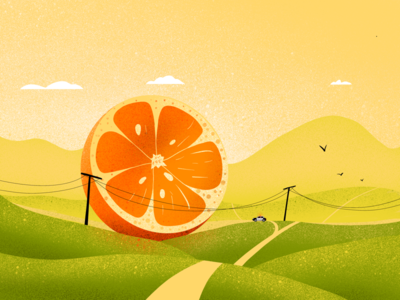 Lost Orange moldova warm fruit giant valley meadow orange landscape nature illustrations illustration size enormous big lost police funny color