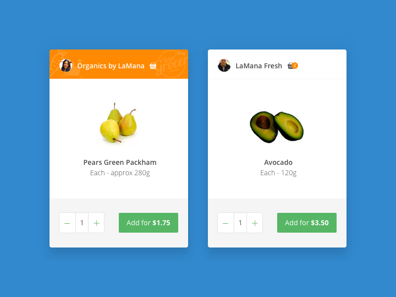 Grocery product card order wip branded veg ecommerce food shopping grocery product card