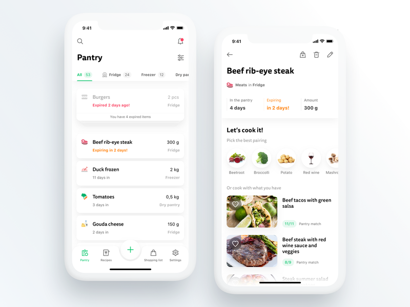 Ultimate pantry management app food light cards recipe ios zero waste iot pantry cooking kitchen smart app ui uidesign ui  ux