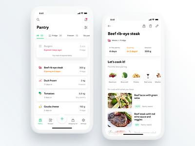 Ultimate pantry management app food light cards recipe ios zero waste iot pantry cooking kitchen smart app ui uidesign ui  ux