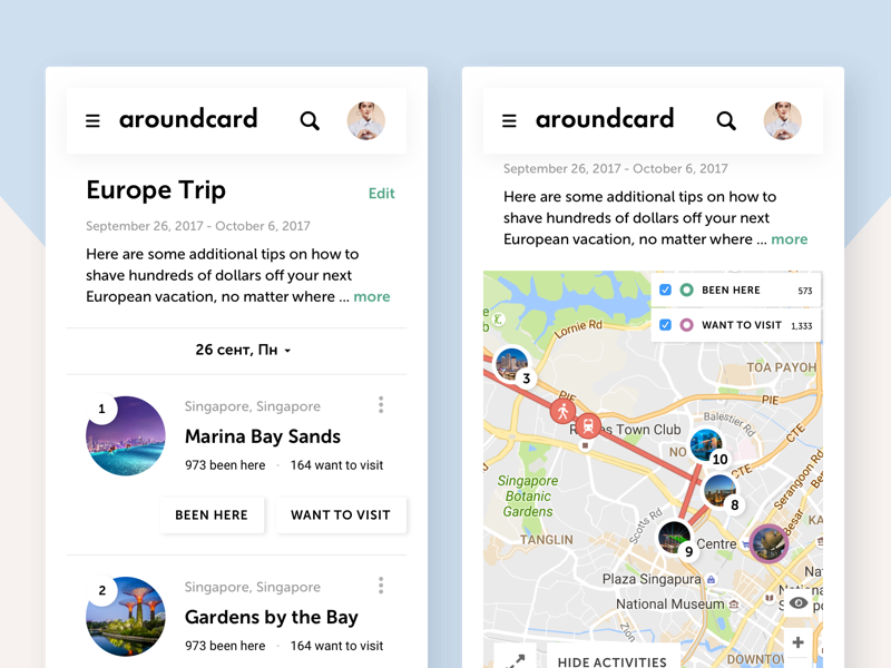 trip planner ui for aroundcard by anna muklinova dribbble dribbble