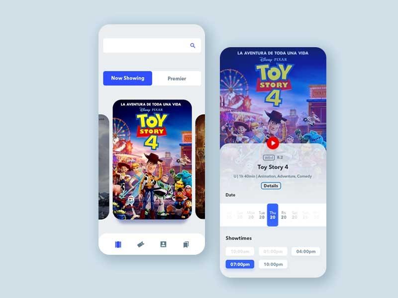 Cinema Ticket V2 minimal clean design latest trend movie ticket app latest app mobile ui mobile app cinema hall app mobile design