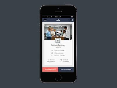 Jobr swipe ui job recruiting mobile