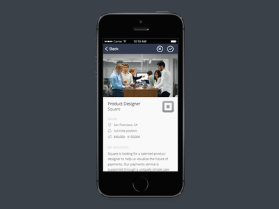 Jobr - detailed job view jobr swipe ui mobile job recruiting