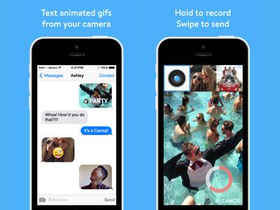 Camoji App Store screens camoji gif gifs camera animated